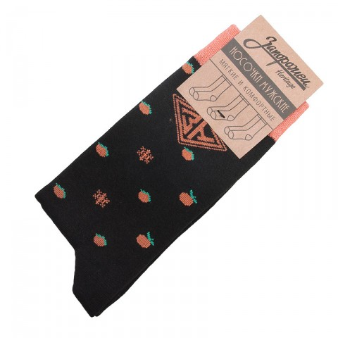 мужские черные  носки запорожец heritage апельсин и снежинки Апел и Снеж-blk - цена, описание, фото 1