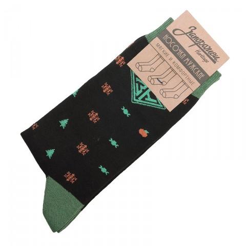мужские черные  носки запорожец heritage ёлки и снежинки Елки и Снеж-blk - цена, описание, фото 1