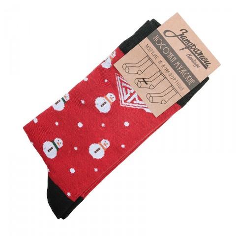 Купить мужские красные  носки запорожец heritage снеговик  в магазинах Streetball - изображение 1 картинки