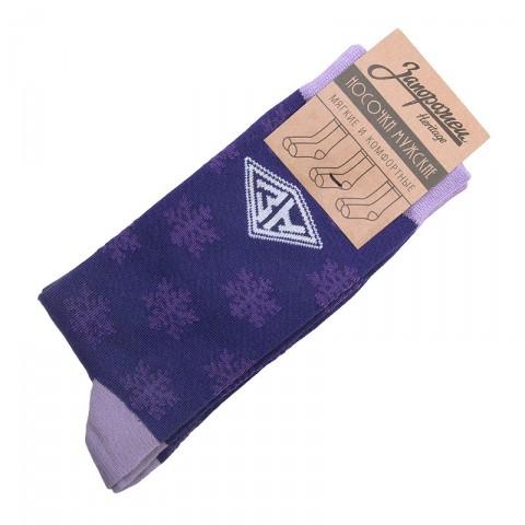 мужские фиолетовые  носки запорожец heritage снежинки Снежинки-фиолет - цена, описание, фото 1