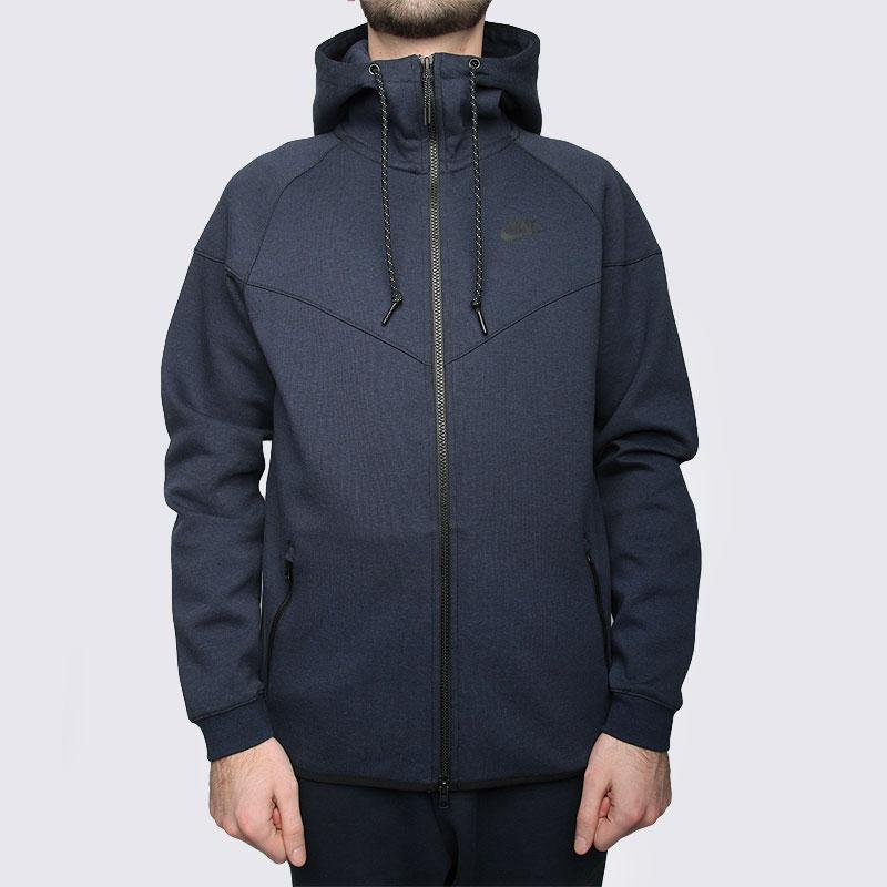 Купить мужскую синюю  толстовка nike tech fleece hoody в магазинах Streetball изображение - 3 картинки