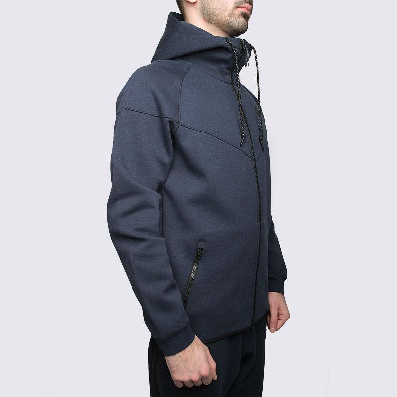 Купить мужскую синюю  толстовка nike tech fleece hoody в магазинах Streetball изображение - 4 картинки