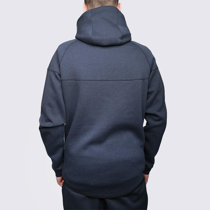 Купить мужскую синюю  толстовка nike tech fleece hoody в магазинах Streetball изображение - 5 картинки