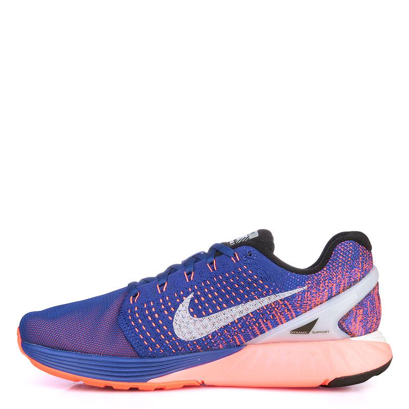 Купить мужские фиолетые,оранжевые,кораловые  кроссовки nike lunarglide 7 flash в магазинах Streetball изображение - 3 картинки