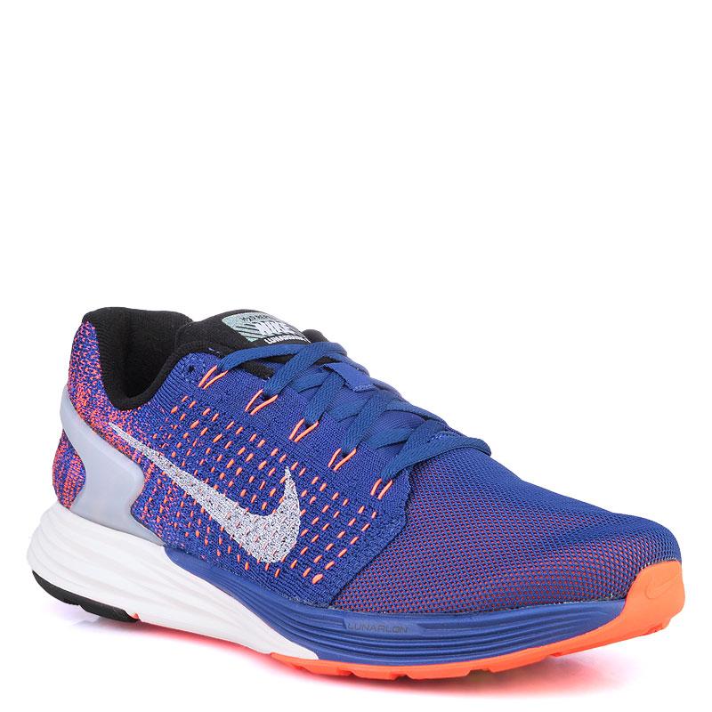 Купить мужские фиолетые,оранжевые,кораловые  кроссовки nike lunarglide 7 flash в магазинах Streetball изображение - 1 картинки