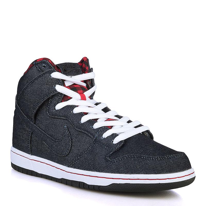 Кроссовки Nike SB Dunk High Premium SBКроссовки lifestyle<br>Текстиль, резина<br><br>Цвет: Чёрный, белый, красный<br>Размеры US: 11.5<br>Пол: Мужской