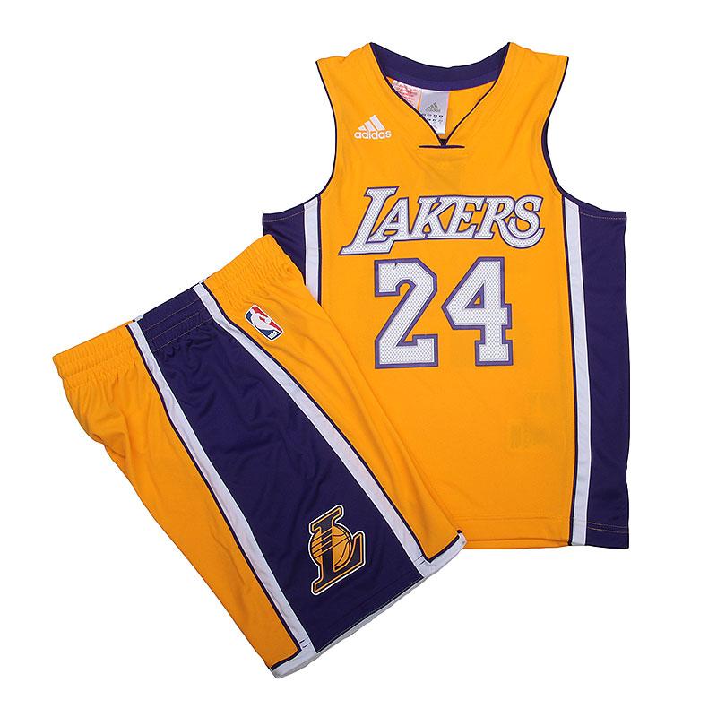 Форма adidas Y JRSY/SHORTФорма<br>Полиэстер<br><br>Цвет: Жёлтый, фиолетовый<br>Размеры UK: 128;152