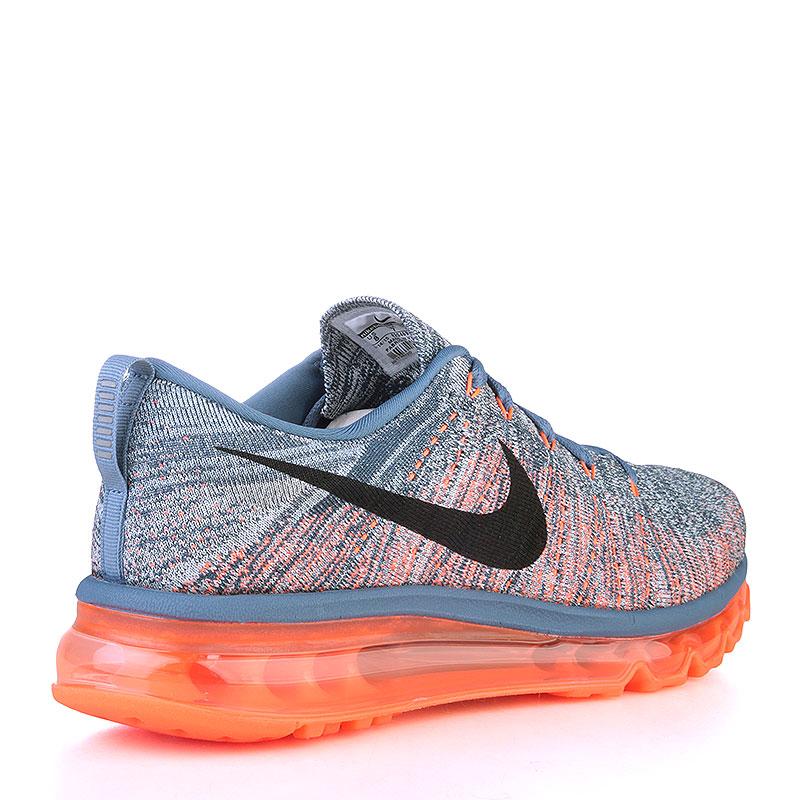 Купить мужские серые, оранжевые  кроссовки nike flyknit max в магазинах Streetball изображение - 2 картинки