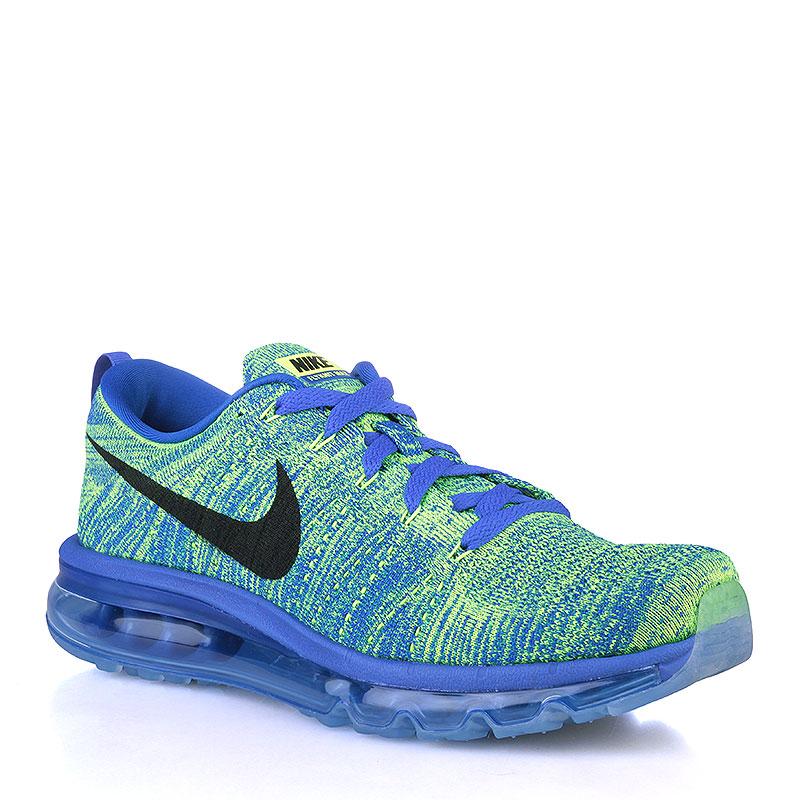 Купить мужские синие, салатовые  кроссовки nike flyknit max в магазинах Streetball изображение - 1 картинки