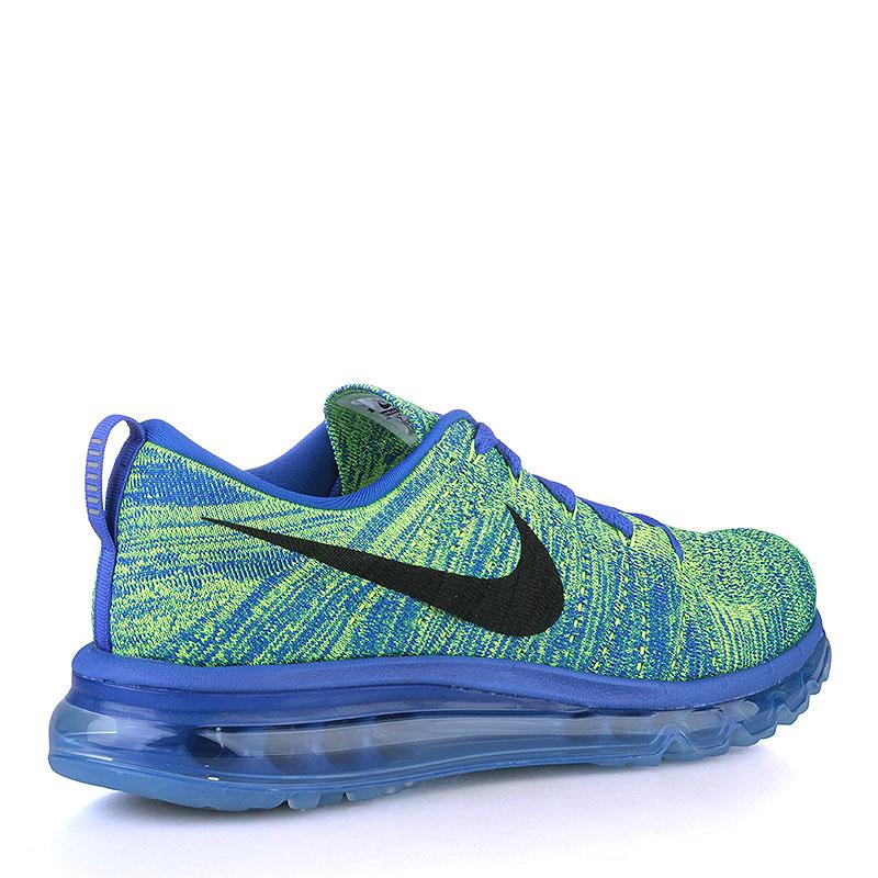 Купить мужские синие, салатовые  кроссовки nike flyknit max в магазинах Streetball изображение - 2 картинки