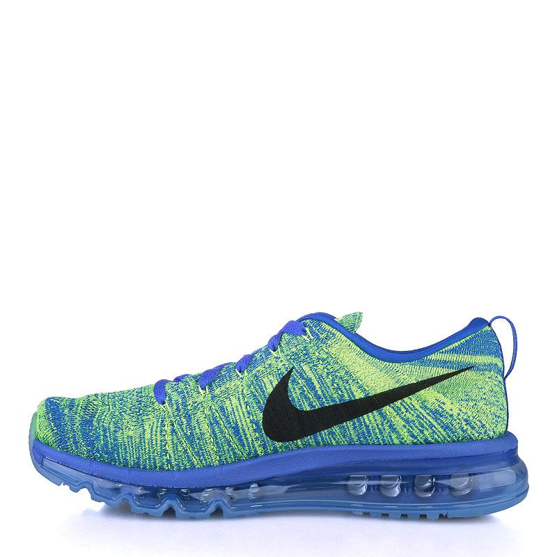 Купить мужские синие, салатовые  кроссовки nike flyknit max в магазинах Streetball изображение - 3 картинки