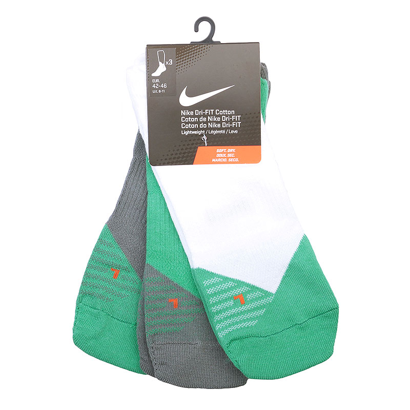 мужские белые, зелёные, серые  носки nike dri-fit lightweight low-quarter SX4951-913 - цена, описание, фото 1
