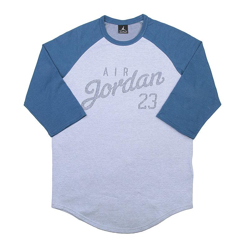 Купить мужскую синюю, серую  футболка 3/4 jordan raglan в магазинах Streetball изображение - 1 картинки