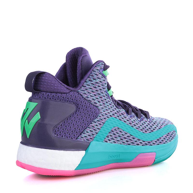 Купить детские фиолетовые, голубые  кроссовки adidas j wall 2 boost в магазинах Streetball изображение - 2 картинки