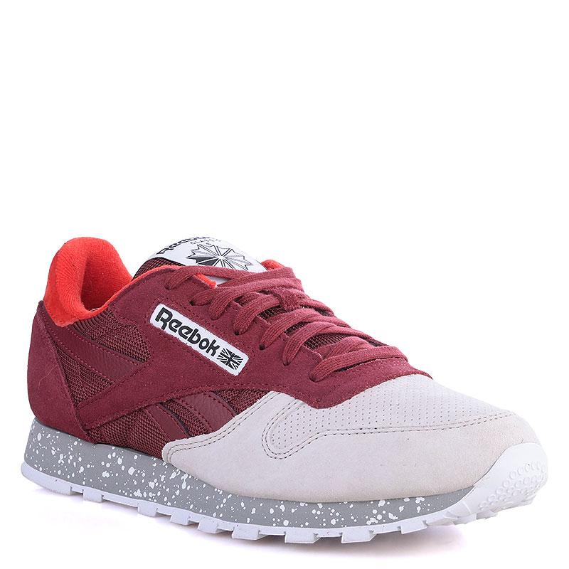 59bcaa2a3c17 мужские красные,бежевые кроссовки reebok classic leather sm V67680 - цена,  описание, фото