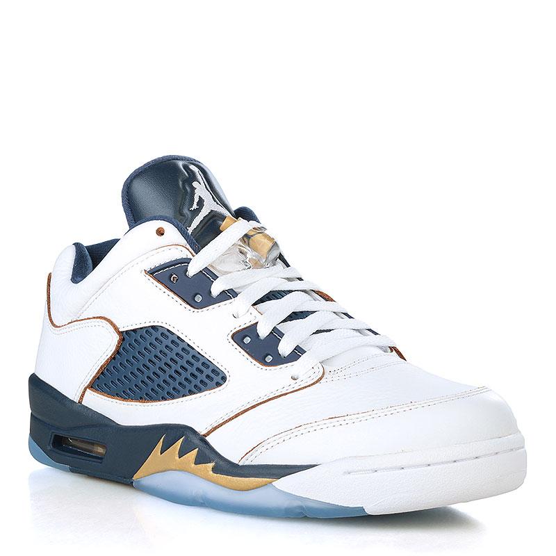 Кроссовки Air Jordan V Retro LowКроссовки lifestyle<br>Кожа, текстиль, резина<br><br>Цвет: Белый, синий, золотой<br>Размеры US: 8;13.5<br>Пол: Мужской