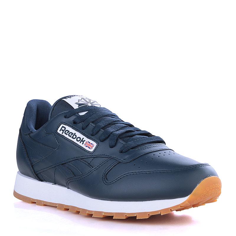 343f2e4b97e9 мужские синие, белые кроссовки reebok classic leather gum AR1216 - цена,  описание, фото