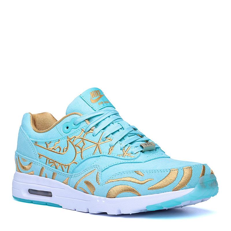 Кроссовки Nike Sportswear WMNS Air Max 1 Ultra LOTC QSКроссовки lifestyle<br>Кожа, текстиль, резина<br><br>Цвет: Голубой, золотой, белый<br>Размеры US: 5<br>Пол: Женский