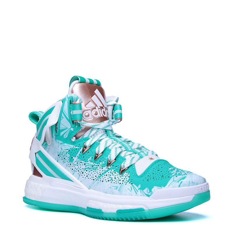 Кроссовки adidas D Rose 6 BoostКроссовки баскетбольные<br>кожа,текстиль,резина<br><br>Цвет: Бирюзовый,белый<br>Размеры UK: 3;3.5;4;4.5<br>Пол: Детский