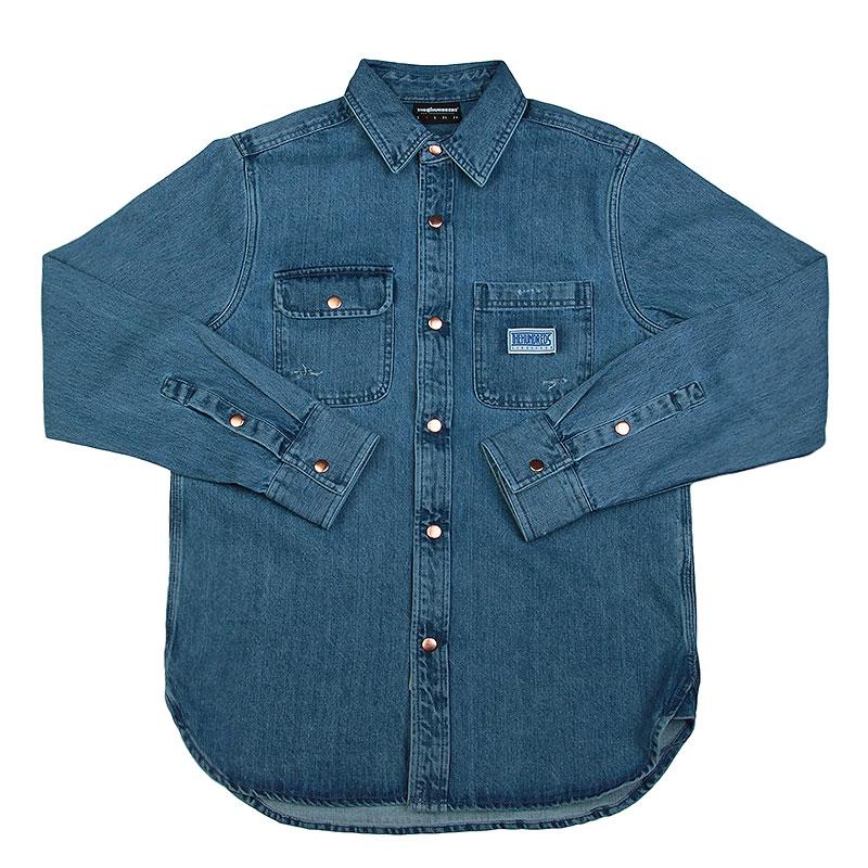 Рубашка the hundreds Hower LS WovenПоло рубашки<br>Хлопок<br><br>Цвет: Синий<br>Размеры : L;M;S