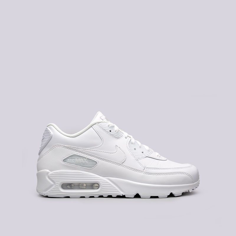 Кроссовки Nike Air Max 90 LeatherКроссовки lifestyle<br>Кожа, текстиль, резина<br><br>Цвет: Белый<br>Размеры US: 8;8.5;9;9.5;10;10.5;11;11.5;12;12.5;14<br>Пол: Мужской