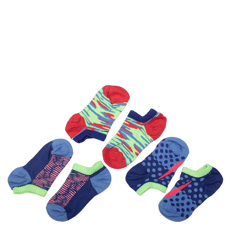 Носки NikeНоски<br>Хлопок, нейлон, эластан, полиэстер<br><br>Цвет: Синий, салатовый, красный<br>Размеры US: XS;S<br>Пол: Детский