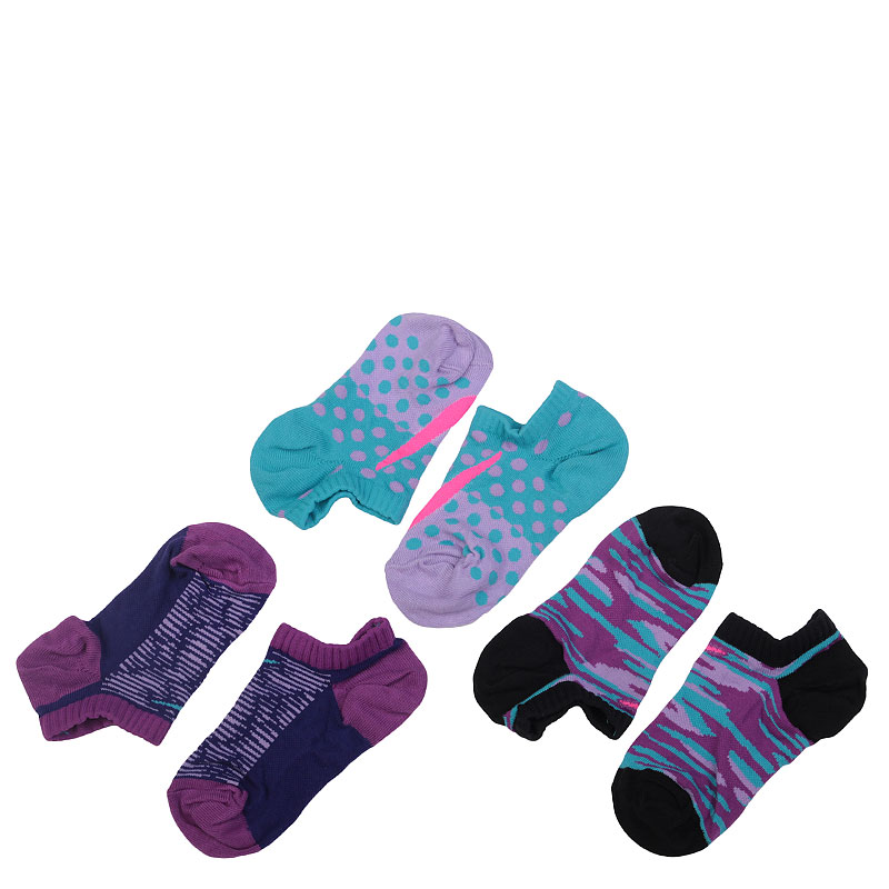 Носки NikeНоски<br>Хлопок, нейлон, эластан, полиэстер<br><br>Цвет: Фиолетовый, чёрный, синий<br>Размеры US: XS<br>Пол: Детский
