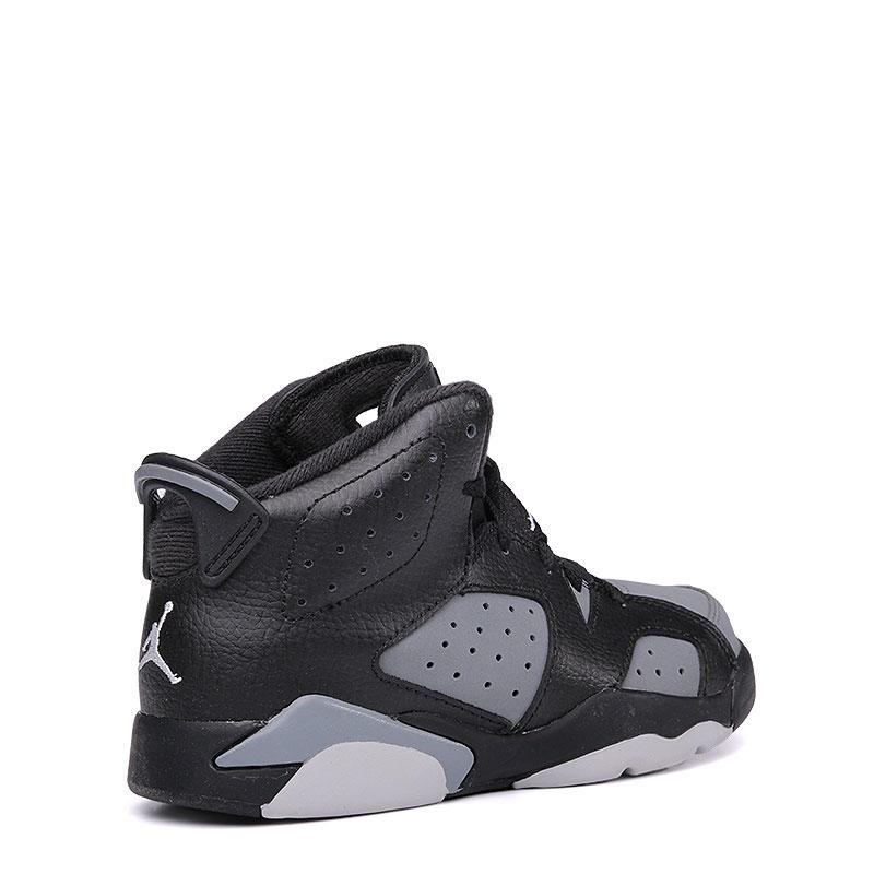 детские черные, серые  кроссовки jordan 6 retro bp 384666-010 - цена, описание, фото 2