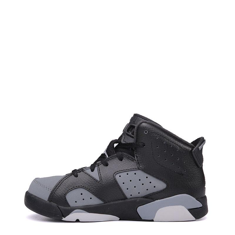 детские черные, серые  кроссовки jordan 6 retro bp 384666-010 - цена, описание, фото 3