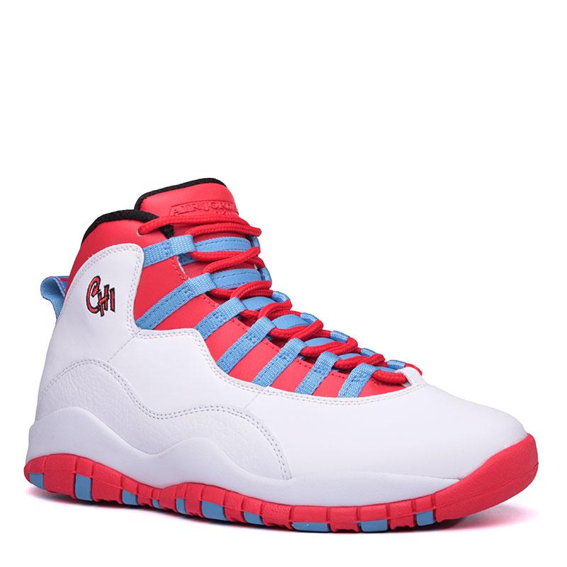 Кроссовки Air Jordan Retro XКроссовки баскетбольные<br>Кожа, текстиль, резина<br><br>Цвет: Белый, красный, голубой<br>Размеры US: 8;8.5<br>Пол: Мужской