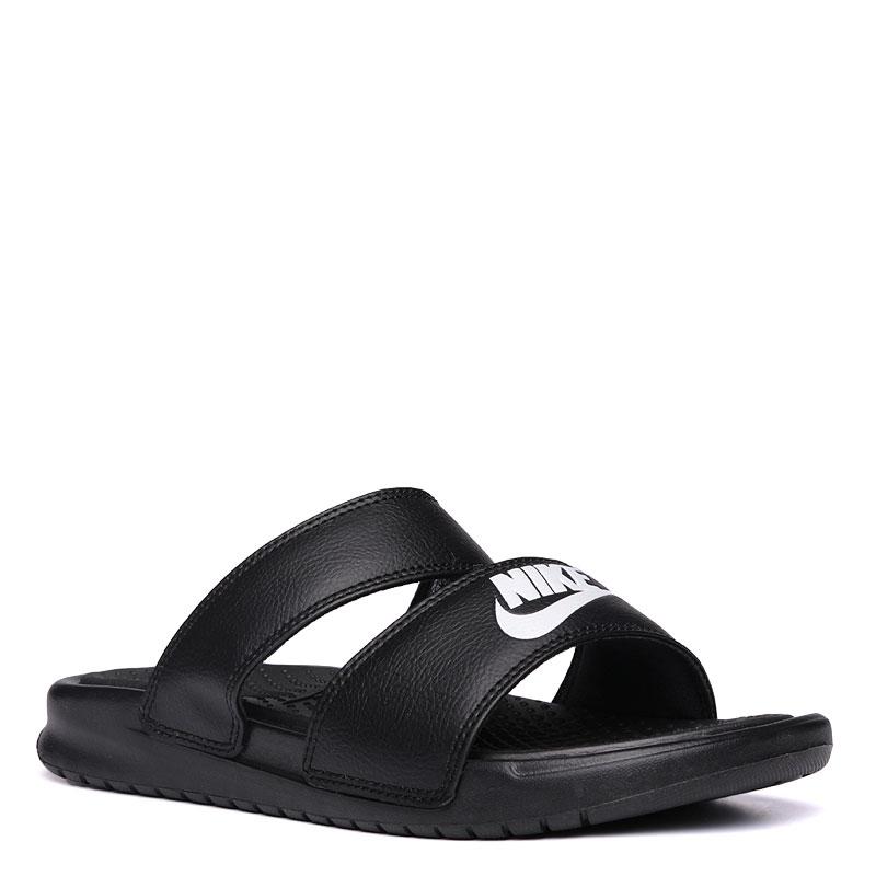 Сланцы Nike Sportswear WMNS Benassi Duo Ultra SlideСланцы, балетки<br>текстиль,резина<br><br>Цвет: Черный<br>Размеры US: 9<br>Пол: Женский