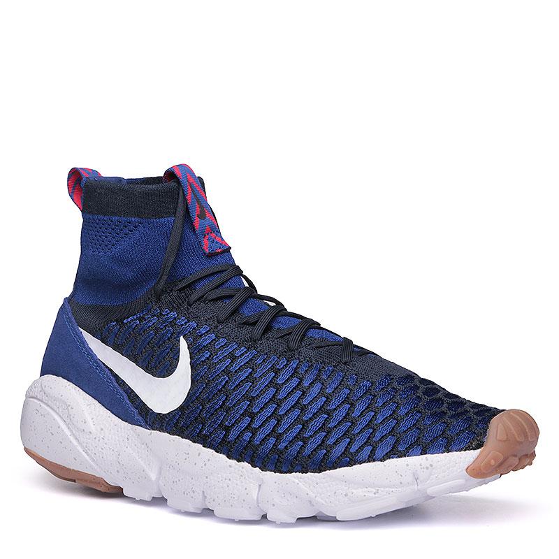 Кроссовки  Nike Air Footscape Magista FlyknitКроссовки lifestyle<br>Кожа, текстиль, пластик, резина<br><br>Цвет: Синий, чёрный, белый<br>Размеры US: 8;8.5;9.5;10.5;11<br>Пол: Мужской