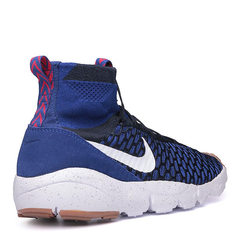 мужские синие, чёрные, белые  кроссовки  nike air footscape magista flyknit 816560-400 - цена, описание, фото 2