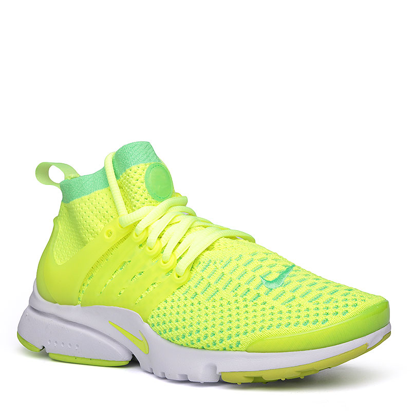 Кроссовки  Nike WMNS Air Presto Flyknit UltraКроссовки lifestyle<br>Текстиль, пластик, резина<br><br>Цвет: Зелёно-жёлтый, белый<br>Размеры US: 6;7<br>Пол: Женский