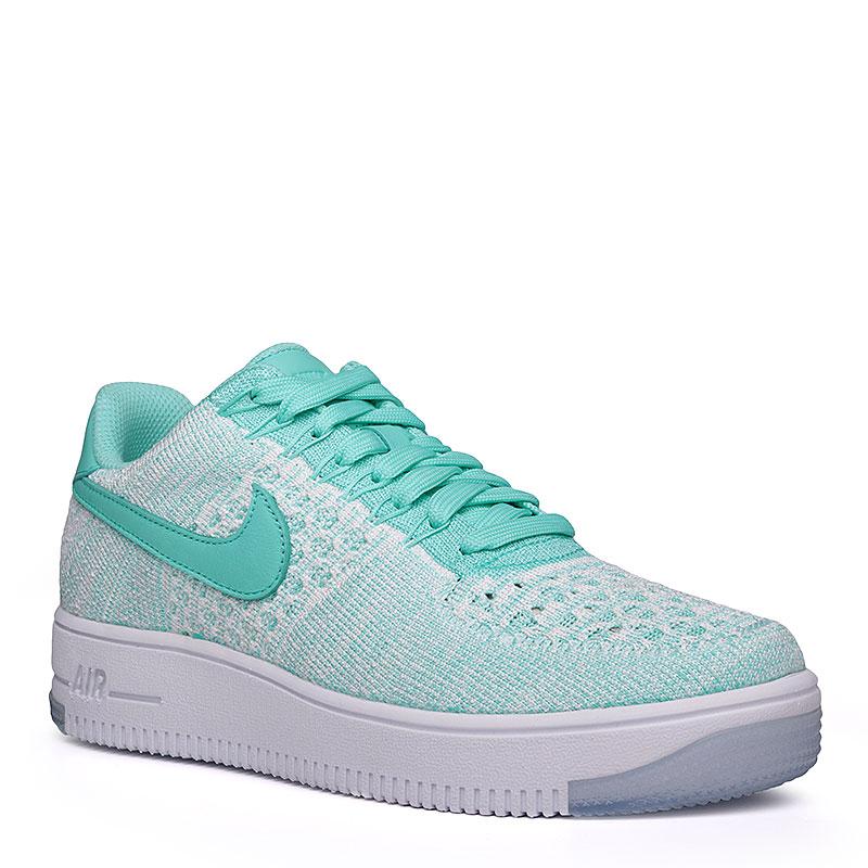 Кроссовки  Nike Sportswear WMNS Air Force 1 Flyknit LowКроссовки lifestyle<br>Текстиль, кожа, резина<br><br>Цвет: Бирюзовый, белый<br>Размеры US: 6.5<br>Пол: Женский
