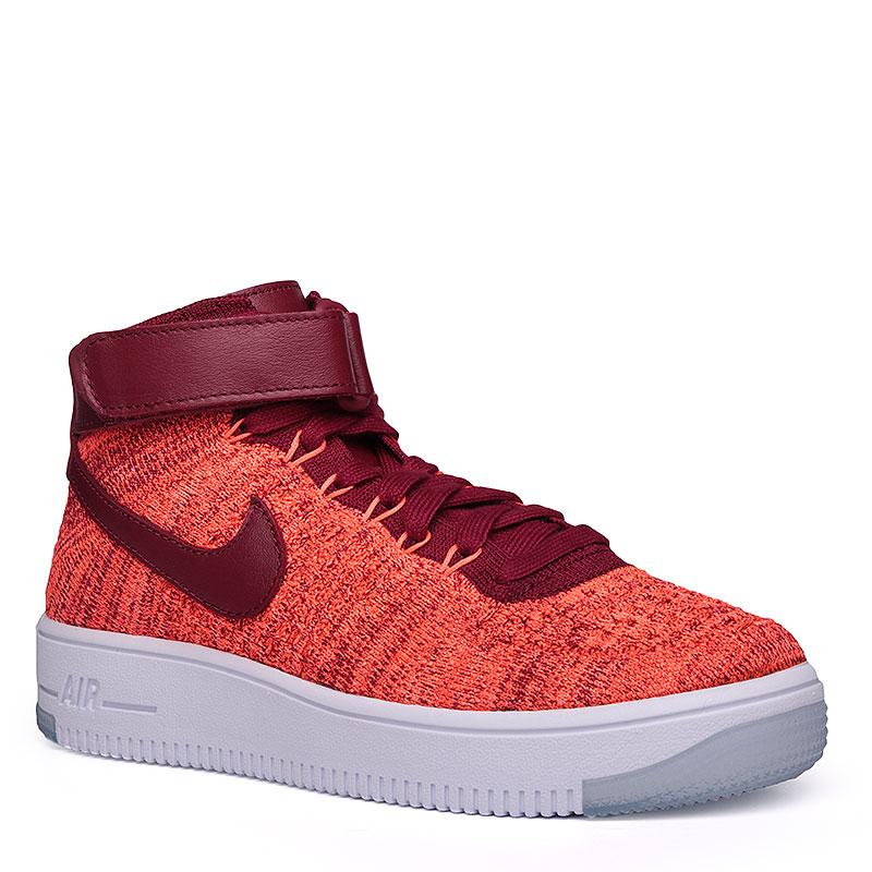 Кроссовки Nike Sportswear WMNS Air Force 1 FlyknitКроссовки lifestyle<br>Текстиль, кожа, резина<br><br>Цвет: бордовый, оранжевый, белый<br>Размеры US: 6;6.5;7;7.5;8<br>Пол: Женский