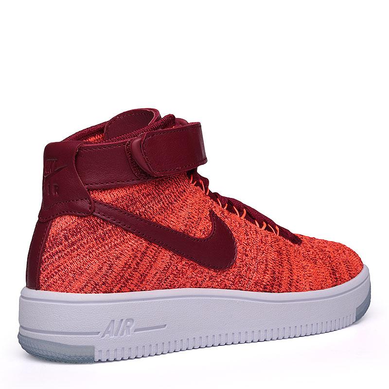 женские бордовые, оранжевые, белые  кроссовки nike wmns air force 1 flyknit 818018-800 - цена, описание, фото 2