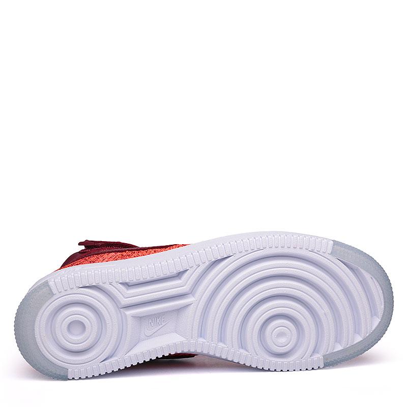 женские бордовые, оранжевые, белые  кроссовки nike wmns air force 1 flyknit 818018-800 - цена, описание, фото 4