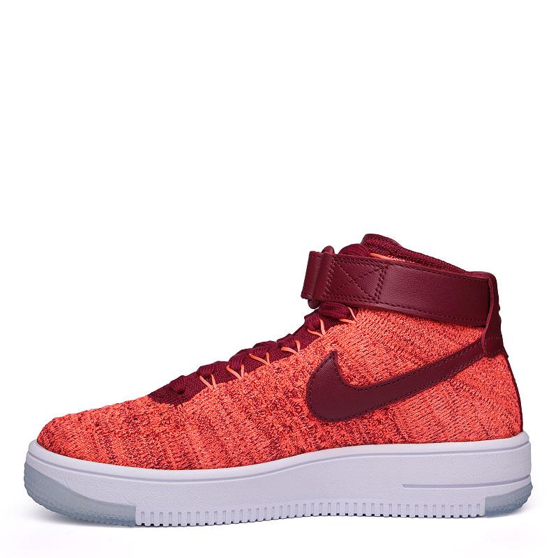 женские бордовые, оранжевые, белые  кроссовки nike wmns air force 1 flyknit 818018-800 - цена, описание, фото 3