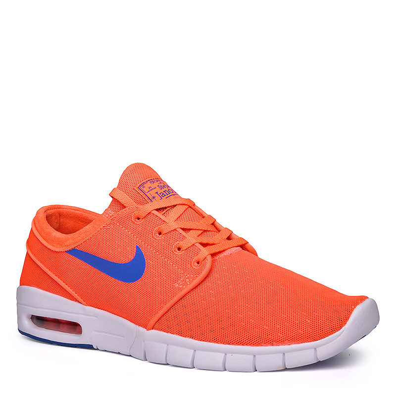 Кроссовки Nike SB Stefan Janoski MaxКроссовки lifestyle<br>Текстиль, пластик, резина<br><br>Цвет: Оранжевый, белый, синий<br>Размеры US: 8;8.5;9;9.5;11;11.5<br>Пол: Мужской