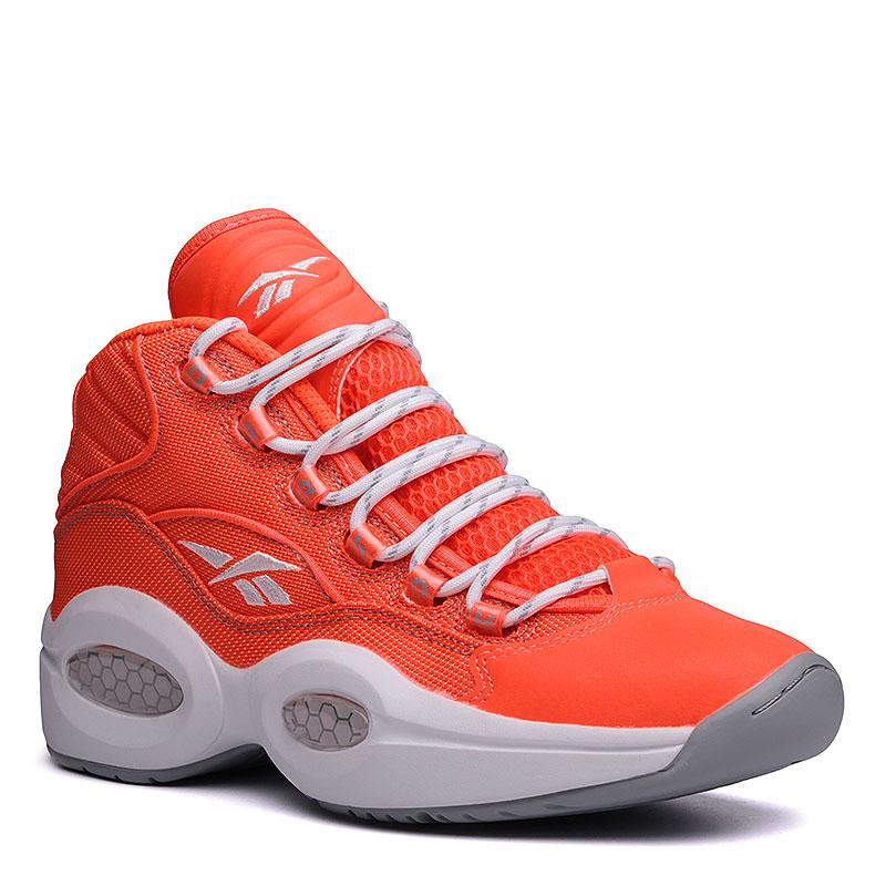Кроссовки  Reebok Question Mid OTSSКроссовки баскетбольные<br>Текстиль, резина<br><br>Цвет: Оранжевый, белый, серый<br>Размеры US: 7.5;8;8.5;12<br>Пол: Мужской