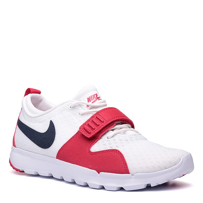Кроссовки  Nike SB TrainerendorКроссовки lifestyle<br>Текстиль, пластик, резина<br><br>Цвет: Красный, белый, чёрный<br>Размеры US: 8.5;9;11.5<br>Пол: Мужской
