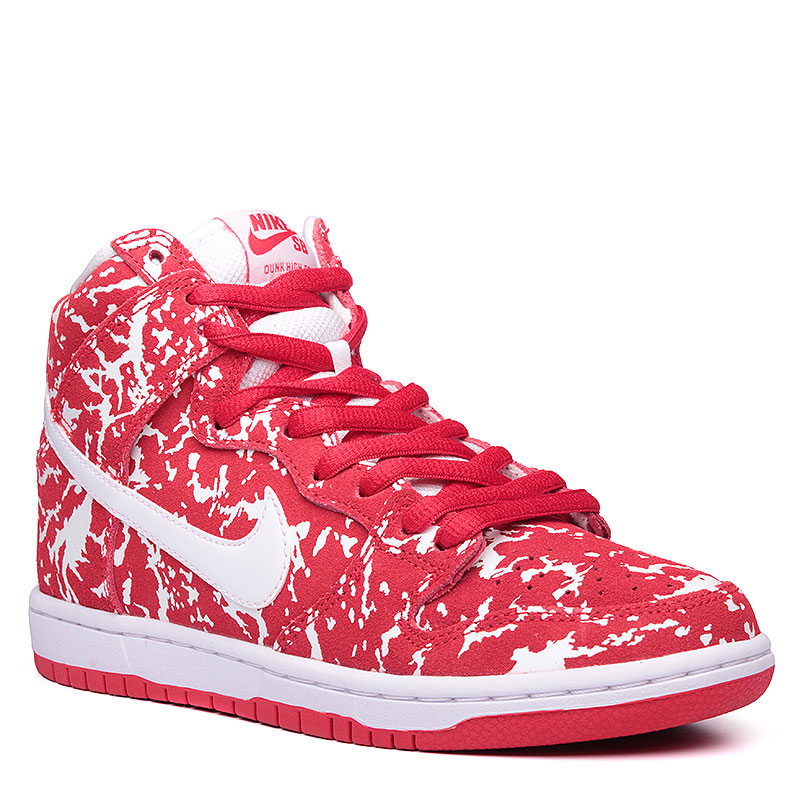 Кроссовки Nike SB Dunk High Premium SBКроссовки lifestyle<br>Кожа, текстиль, резина<br><br>Цвет: Красный, белый<br>Размеры US: 5.5;7;8;8.5<br>Пол: Мужской