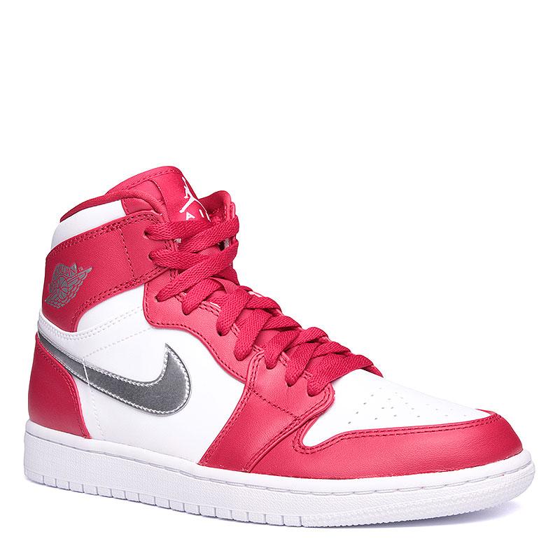 Кроссовки Air Jordan 1 Retro HighКроссовки lifestyle<br>Кожа, синтетика, текстиль, резина<br><br>Цвет: Красный, белый, серебряный<br>Размеры US: 7;7.5;8;8.5;9;9.5;10;10.5;11;11.5;12<br>Пол: Мужской
