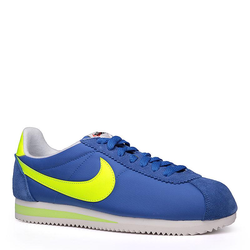 Кроссовки  Nike sportswear Classic Cortez Nylon AWКроссовки lifestyle<br>Текстиль, кожа, резина<br><br>Цвет: Синий, белый, салатовый<br>Размеры US: 8;8.5;9;9.5;10;10.5;11;11.5;12<br>Пол: Мужской