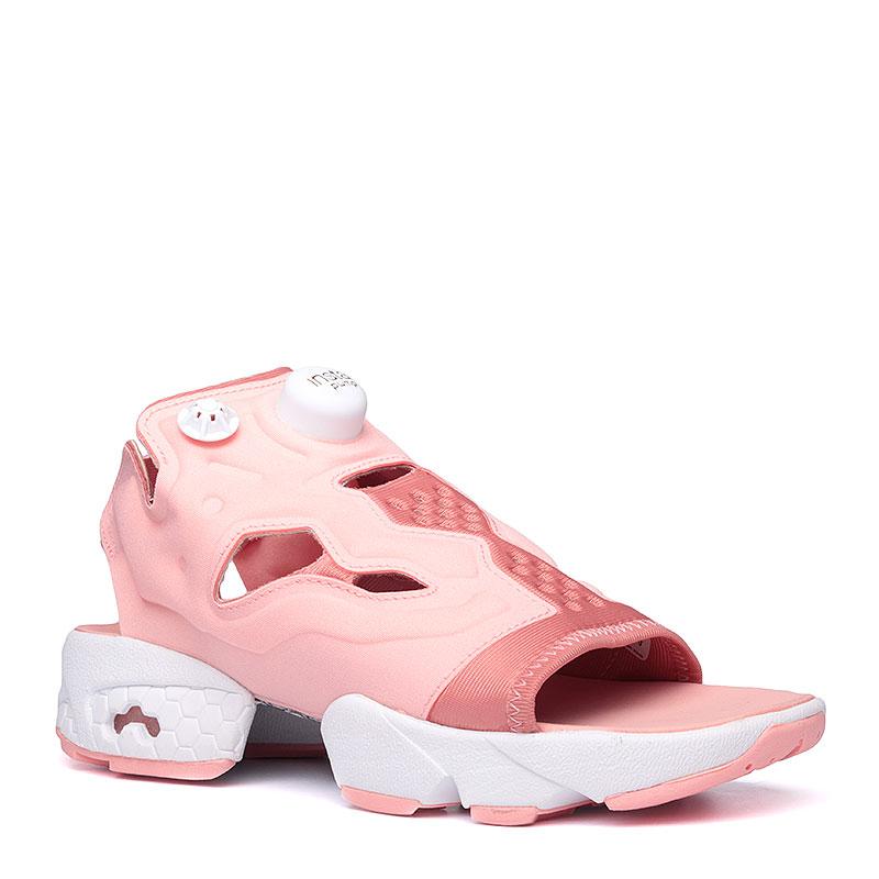 Сандали Reebok Instapump Fury SandalСланцы, балетки<br>Текстиль, резина<br><br>Цвет: Розовый, белый<br>Размеры US: 5<br>Пол: Женский