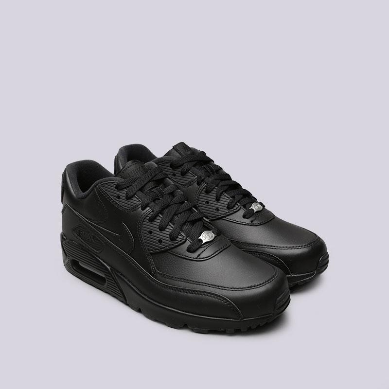 мужские чёрные.  кроссовки nike air max 90 leather 302519-001 - цена, описание, фото 4