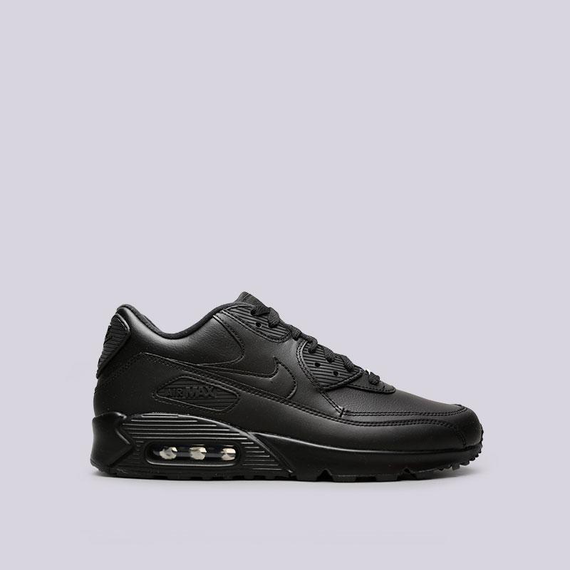 Кроссовки Nike Air Max 90 LeatherКроссовки lifestyle<br>кожа, синтетика, текстиль, резина.<br><br>Цвет: чёрный.<br>Размеры US: 8;8.5;9;9.5;10;10.5;11;11.5;12;12.5;15<br>Пол: Мужской