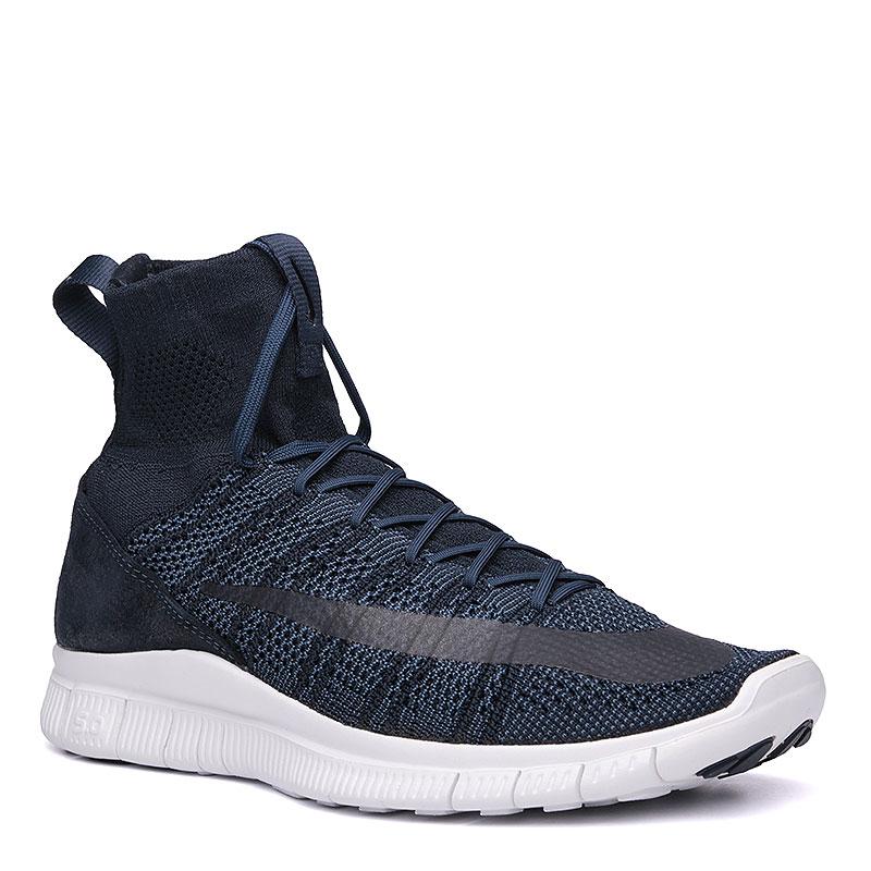 Кроссовки  Nike Sportswear Free Flyknit MercurialКроссовки lifestyle<br>текстиль, пластик, резина.<br><br>Цвет: тёмно-синий, белый.<br>Размеры US: 11;11.5<br>Пол: Мужской