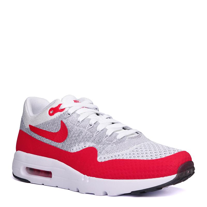 Кроссовки Nike Sportswear Air Max 1 Ultra FlyknitКроссовки lifestyle<br>текстиль, резина<br><br>Цвет: Серый, красный, белый<br>Размеры US: 8.5<br>Пол: Мужской